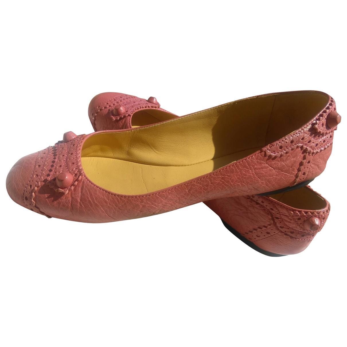 Balenciaga \N Pink Leather Ballet flats for Women 39.5 EU