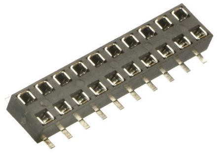 HARWIN 2mm Pitch 20 Way 2 Row Straight PCB Socket, Surface Mount, Solder Termination