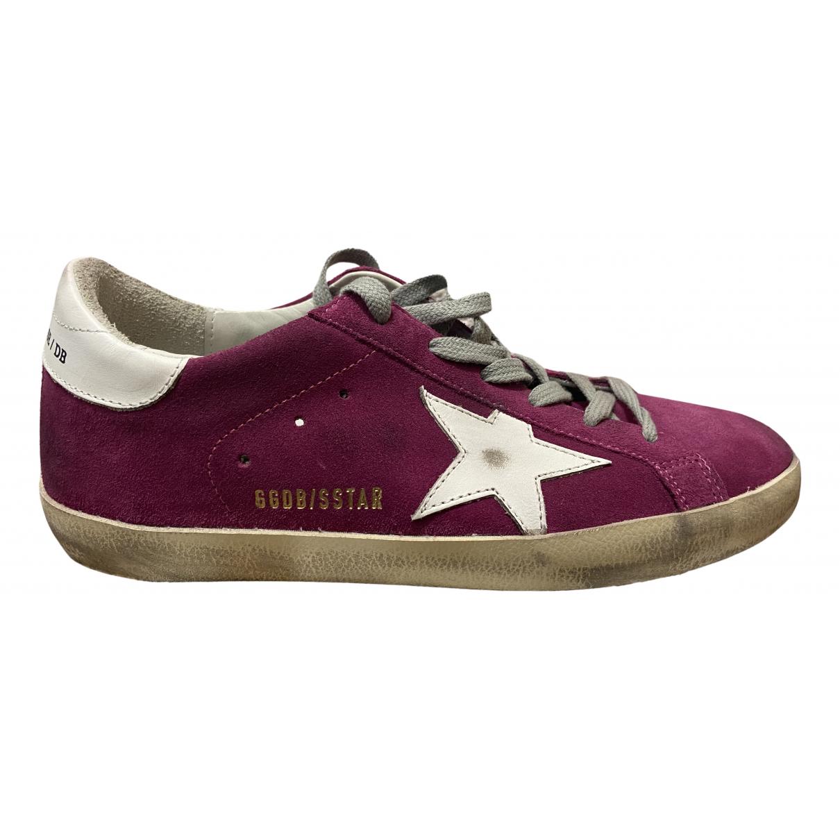 Golden Goose Superstar Sneakers in  Lila Samt