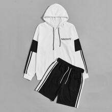 Men Letter Graphic Striped Side Hoodie & Track Shorts