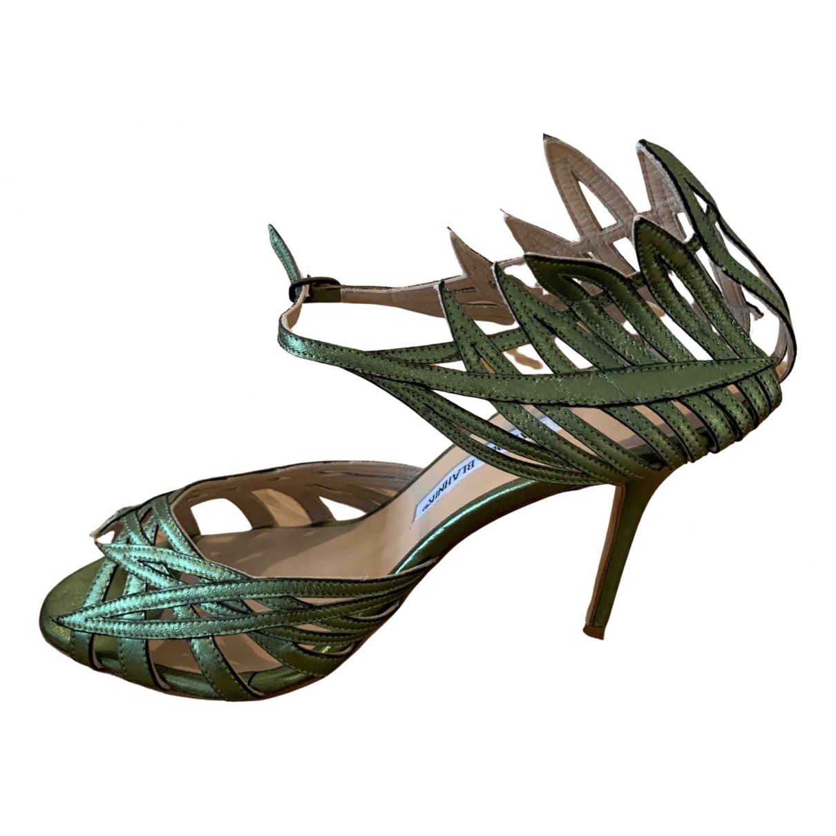 Manolo Blahnik N Green Leather Sandals for Women 40 EU