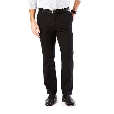 Dockers Men's Straight Fit Signature Khaki Lux Cotton Stretch Pants D2, 32 29, Black