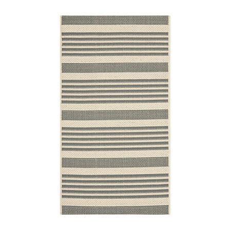 Safavieh Courtyard Collection Santos Stripe Indoor/Outdoor Area Rug, One Size , Gray