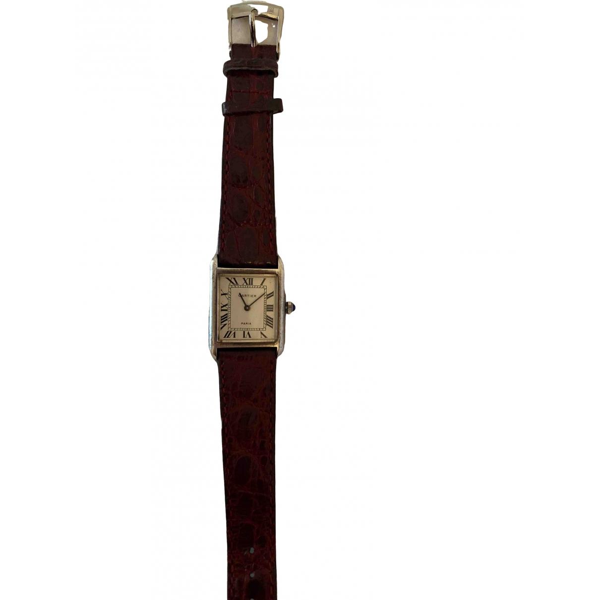 Cartier Tank Louis Cartier Uhr in  Bordeauxrot Stahl