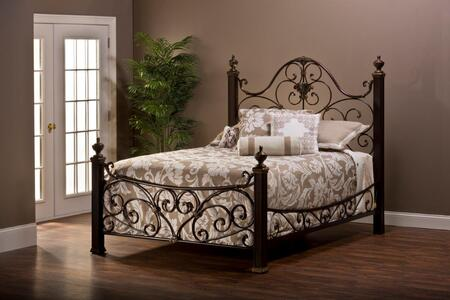 Mikelson Collection 1648BKR King Size Poster Bed with Headboard  Footboard  Rails  Decorative Finials  Open-Frame Panel Design and Beautiful Metal