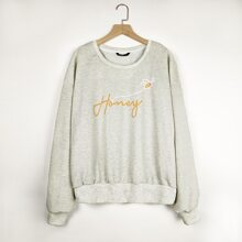 Plus Drop Shoulder Letter Graphic Sweatshirt