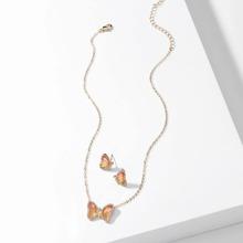 3 Stuecke Jewelry Set mit Strass Schmetterling Dekor