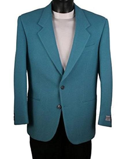 Men's Teal Blue Single Breasted 2 Button Notch Lapel Blazer