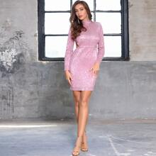 DKRX Mock Neck Backless Sequin Bodycon Dress