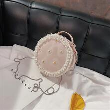 Faux Pearl Daisy Round Bag
