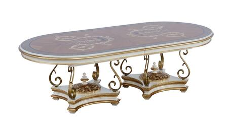 Valentina Collection Luxury Dining Table  Mahogany Wood Solid Base and Frame  Hand Carved & Handcrafted  in Beige and Dark Gold
