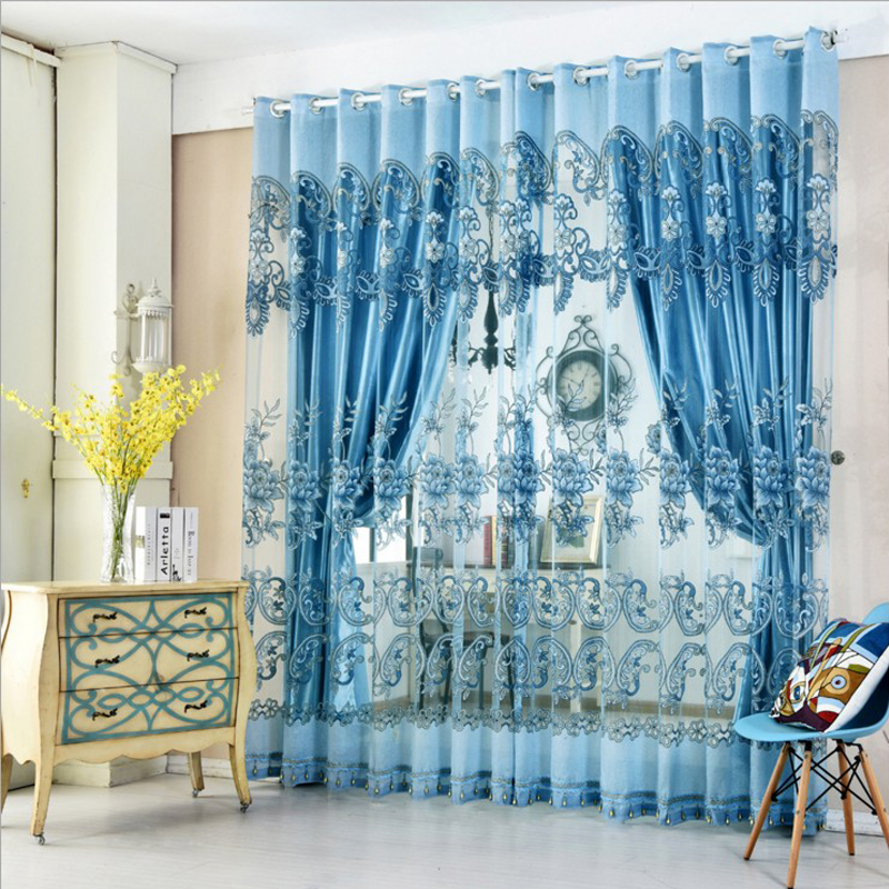 Heat Insulation Feature Jacquard Technics Polyester Material Plant Pattern Curtain Sets
