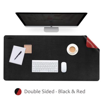 Tapis de souris allongé double face, 900 mm x 450 mm, matériau PU - Moustache® - Noir & Rouge