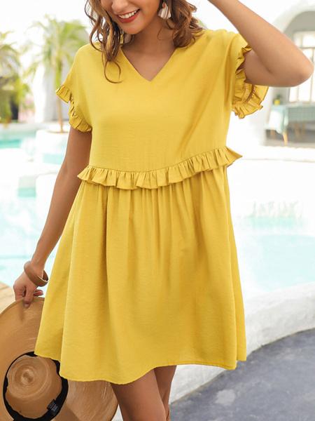Milanoo Vestido de verano con cuello en V con volantes de manga corta Vestidos skater amarillos Vestido suelto de playa