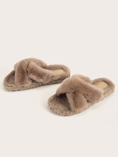 Milanoo Women\'s Slippers Ecru White Flat Heels Polyurethane Holiday Casual Shoes