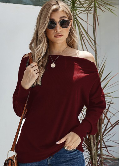 Trendy Long Sleeve Skew Neck Zipper Detail Sweater - XL