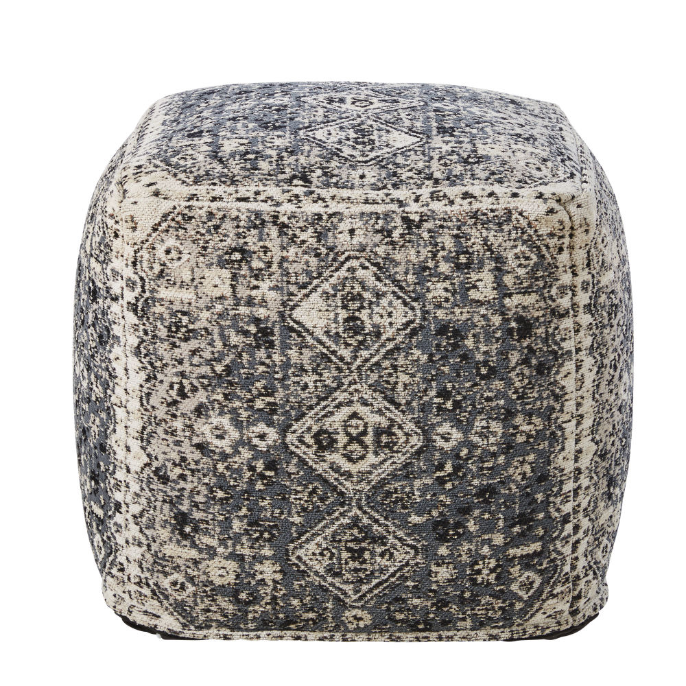 Sitzkissen mit taupefarbenem Baumwollbezug und braunem Druckmotiv