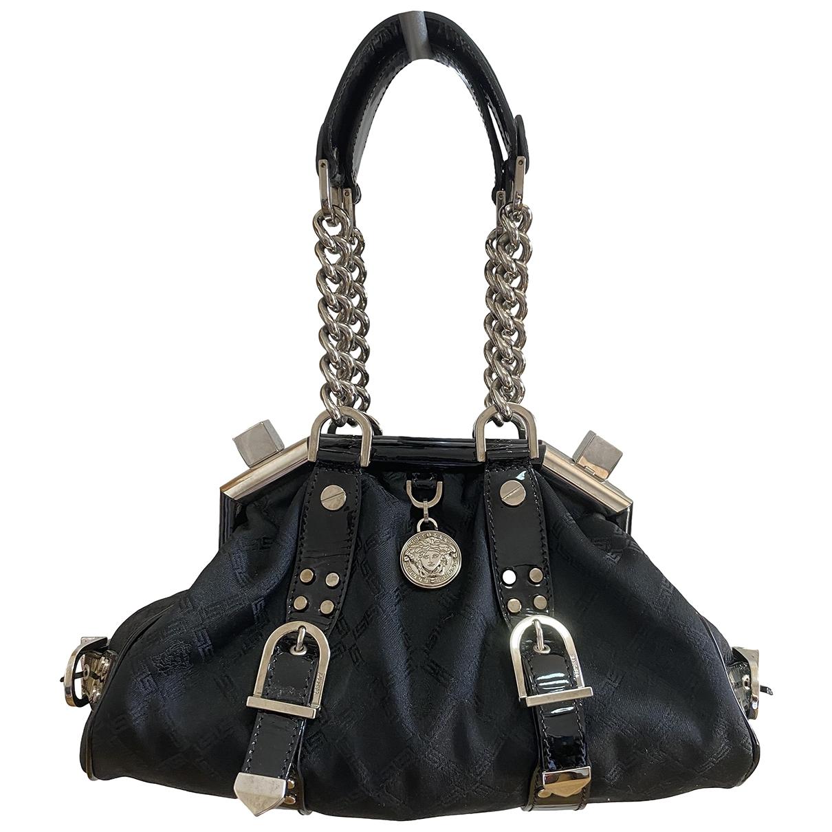 Versace \N Handtasche in  Schwarz Leinen