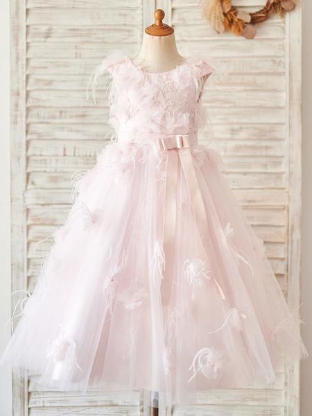 Milanoo Flower Girl Dresses Jewel Neck Lace Sleeveless Tea-Length Princess Silhouette Bows Kids Social Party Dresses