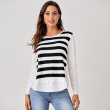 Two Tone Striped Curved Hem Sweater
