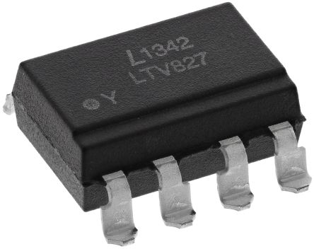 Lite-On , LTV-827S-TA1 DC Input Transistor Output Dual Optocoupler, Surface Mount, 8-Pin PDIP (5)