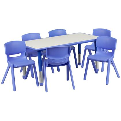 YU-YCY-060-0036-RECT-TBL-BLUE-GG 23.63''W x 47.25''L Adjustable Rectangular Blue Plastic Activity Table Set with 6 School Stack