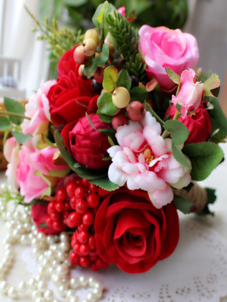 Milanoo Succulent Wedding Bouquet Red Silk Flowers Bridal Bouquets