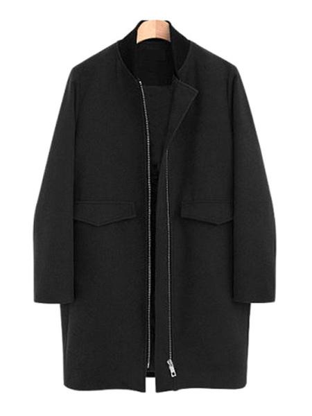 Milanoo Escudo de las mujeres Negro Negro clasico collar de pie abrigos de invierno