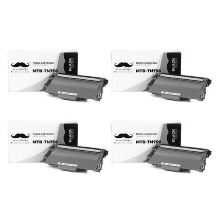 Compatible Brother TN750 Black Toner Cartridge by Moustache, 4 Pack - High Yield