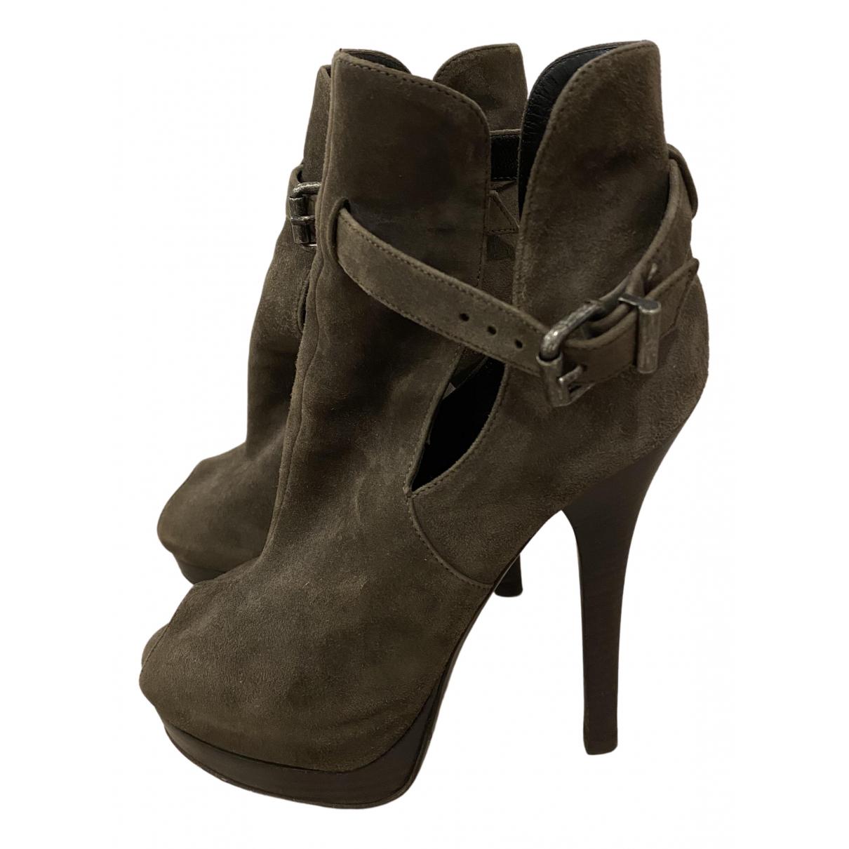 Fendi - Boots   pour femme en suede - kaki