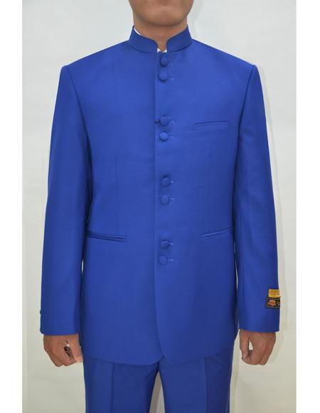 Marriage Groom Wedding Indian Nehru Jacket Mens Blazer Royal Blue