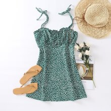 Plus Ruched Bust Ditsy Floral Cami Dress