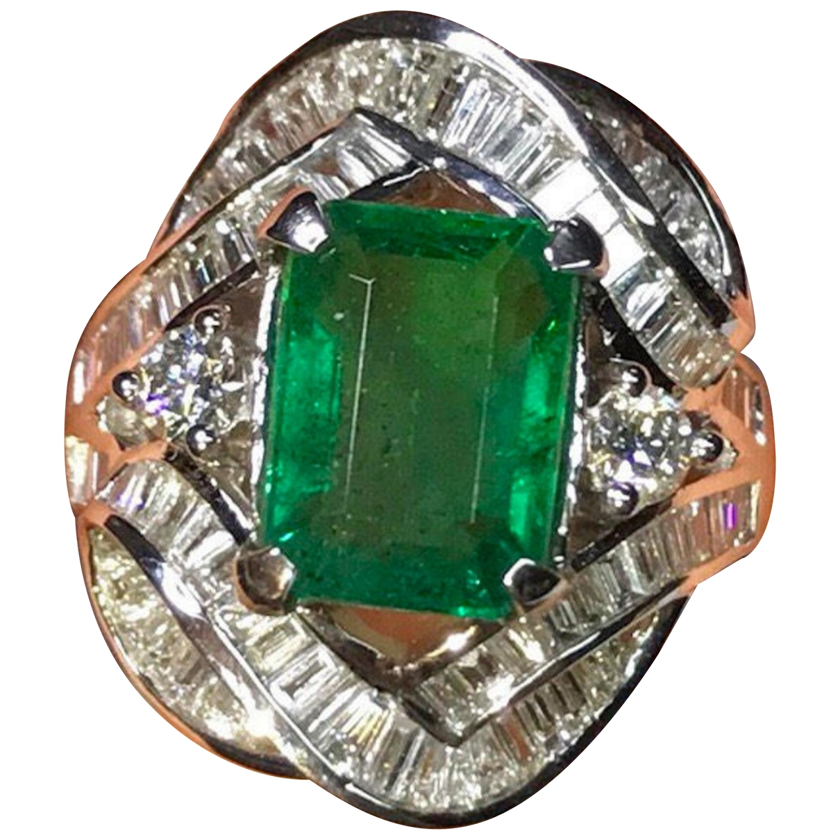 Non Signé / Unsigned Emeraude Green White gold ring for Women 53 MM