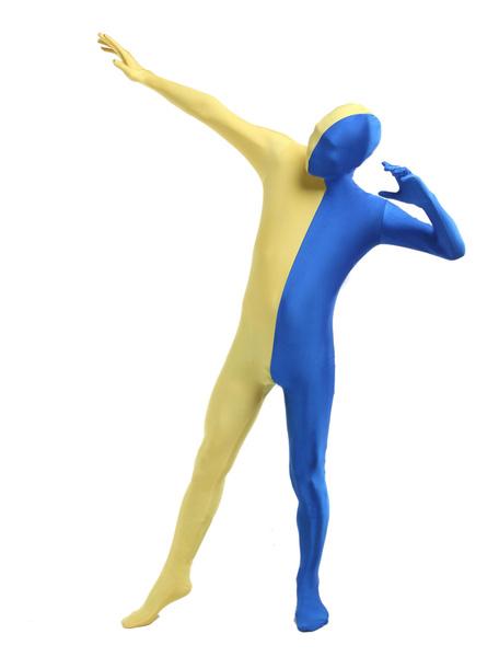 Milanoo Morph Suit Yellow and Blue Lycra Spandex Zentai Suit Unisex Full Body Suit