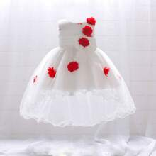 Baby Girl Tie Back Random Stereo Flowers High Low Gown Dress