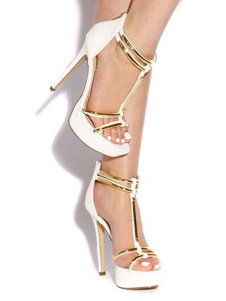 Milanoo Sandalias de puntera abierta Color liso estilo street wear de tacon de stiletto estilo moderno Sandalias para mujer