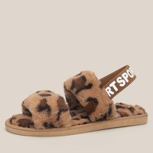 Leopard Double Band Slingback Fluffy Sandals