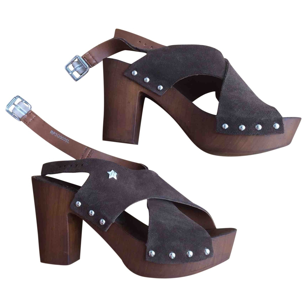 Replay \N Brown Fur Heels for Women 37 EU