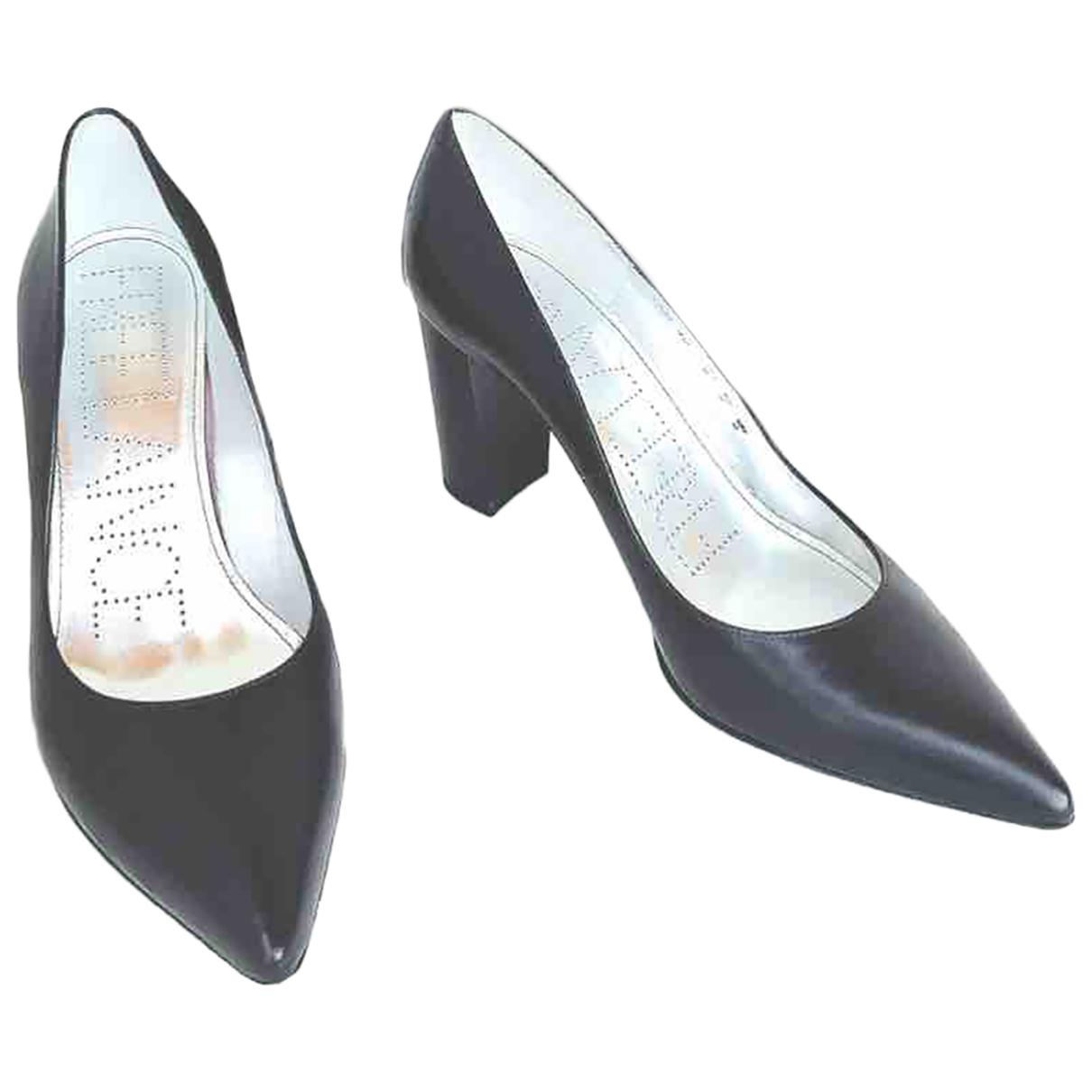 Free Lance Jaspe Black Leather Heels for Women 40 EU