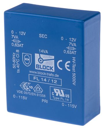 Block 12V ac 2 Output Through Hole PCB Transformer, 14VA