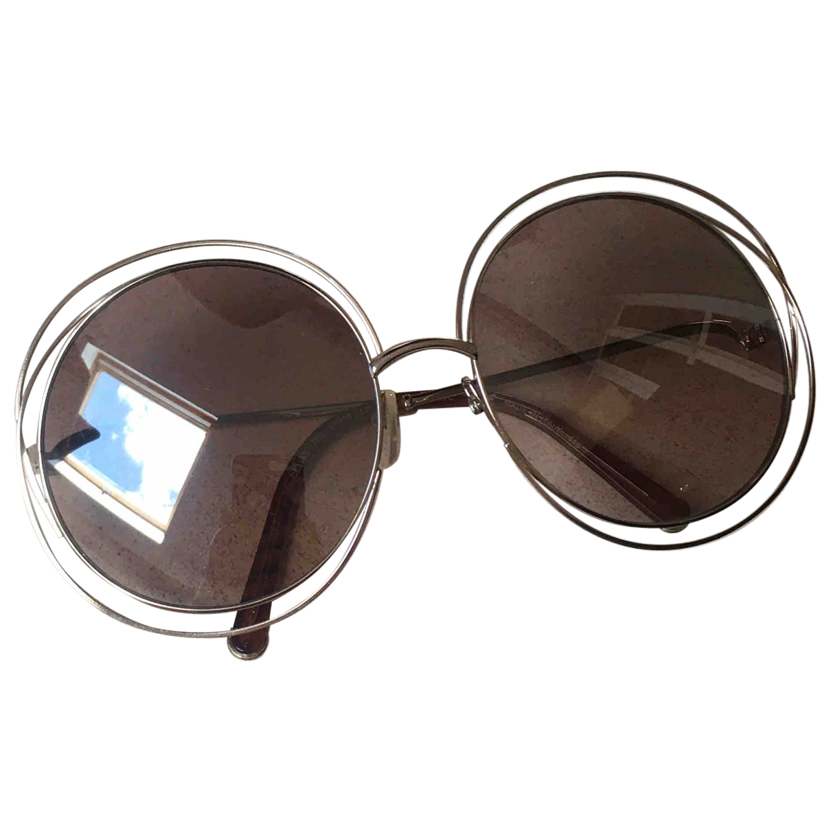 Chloé Carlina Brown Metal Sunglasses for Women \N