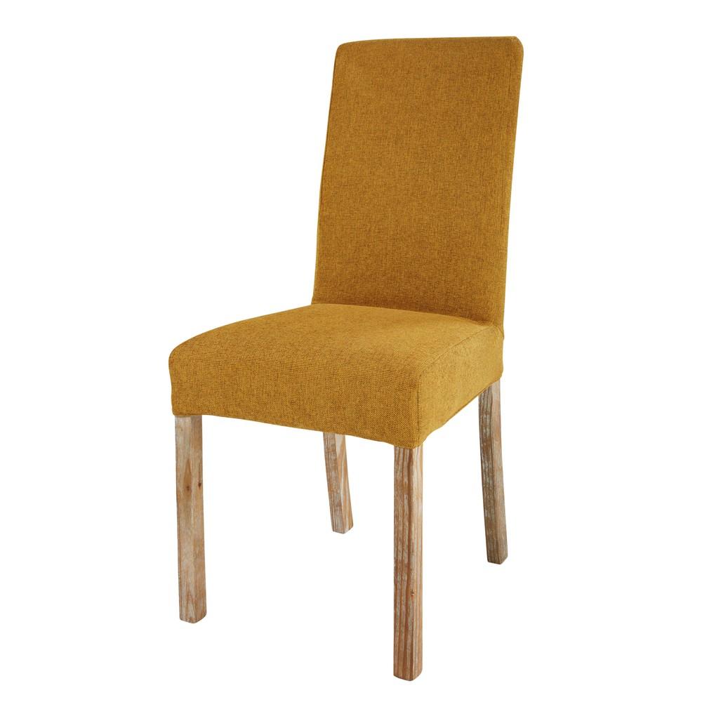 Stuhlbezug aus Stoff ockerfarben
