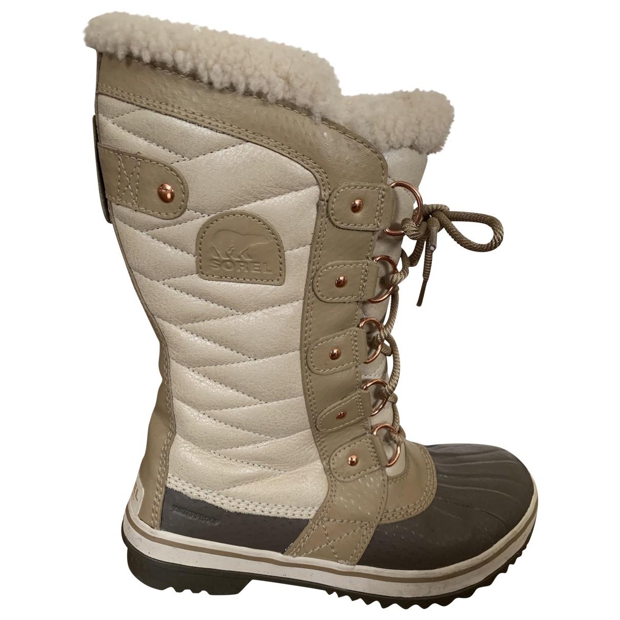 Sorel - Boots   pour femme en caoutchouc - beige