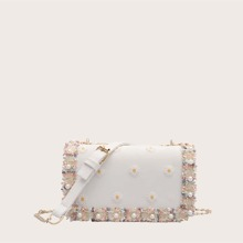 Faux Pearl & Daisy Decor Crossbody Bag