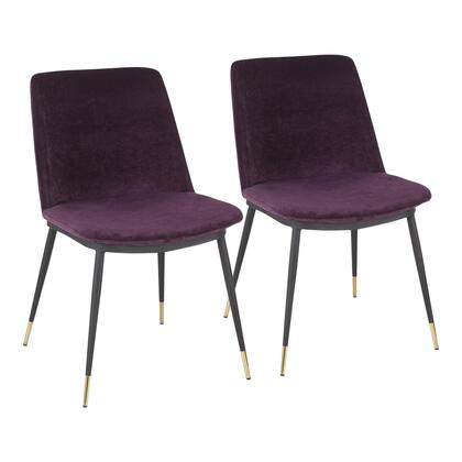 CH-WANDA BKPR2 Wanda Contemporary Chair with Black Metal Legs with Gold Accent and Purple