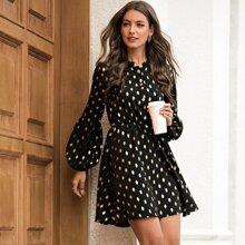 Kleid mit Punkten Muster und Kontrast Spitze