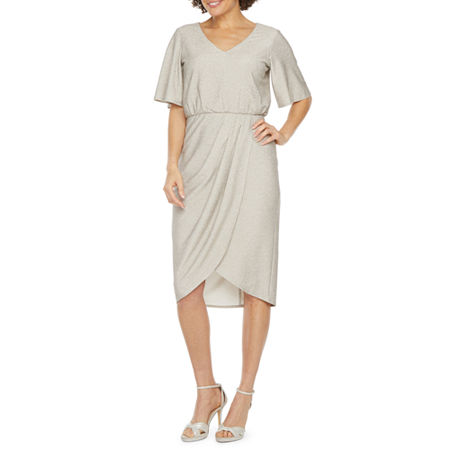MSK Short Sleeve High-Low Blouson Dress, 12 , Silver