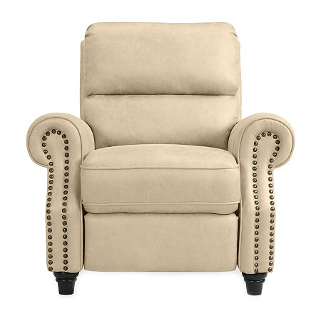 Anna Push Back Roll-Arm Recliner in Distressed Faux Leather, One Size , Beige