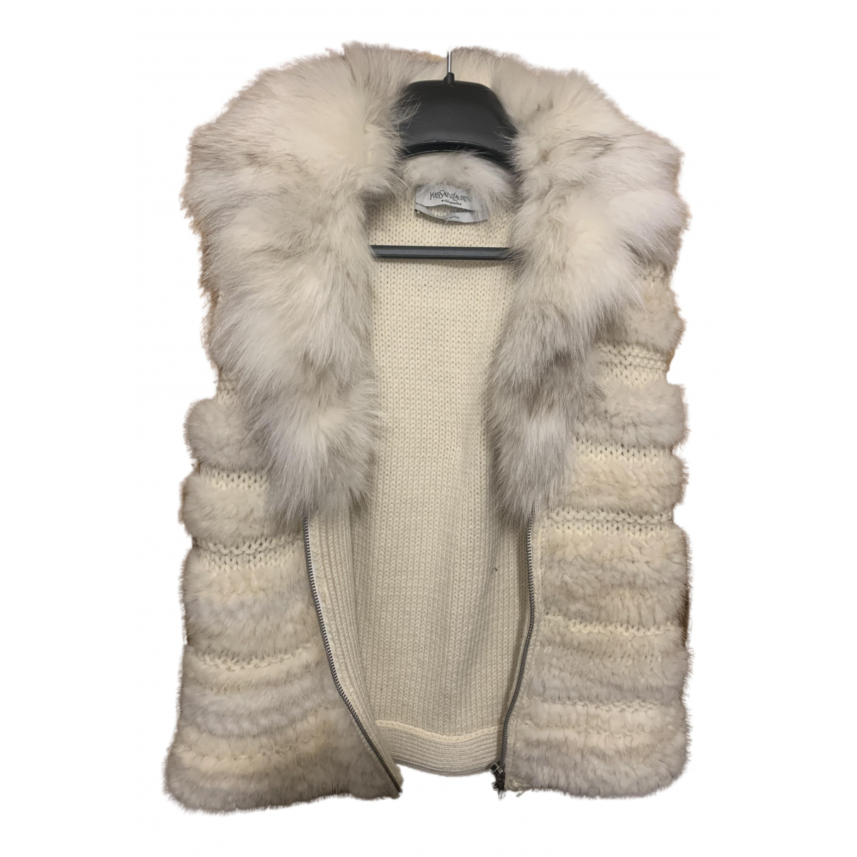 Yves Saint Laurent - Pull   pour femme en vison - blanc