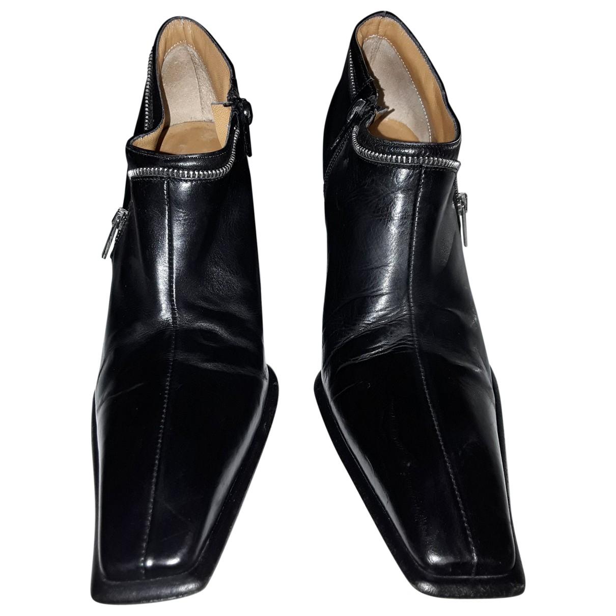 Venise Collection - Boots   pour femme en cuir - noir